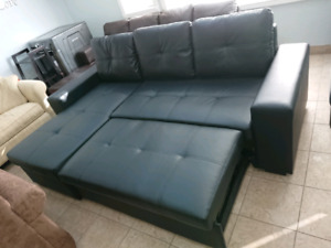 FREE DELIVERY NEW BLACK AIR LEATHER SOFA BED SECTIONAL