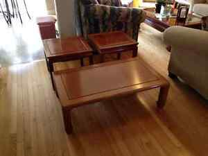 SET OF COFFEE AND END TABLES - SOLID THAI ROSEWOOD