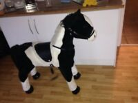 Large tall kids horse makes noises saddles