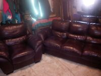 LEATHER COUCH, LOVESEAT AND CHAIR