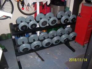 570LBs Pro-Style Dumbbells with Rack
