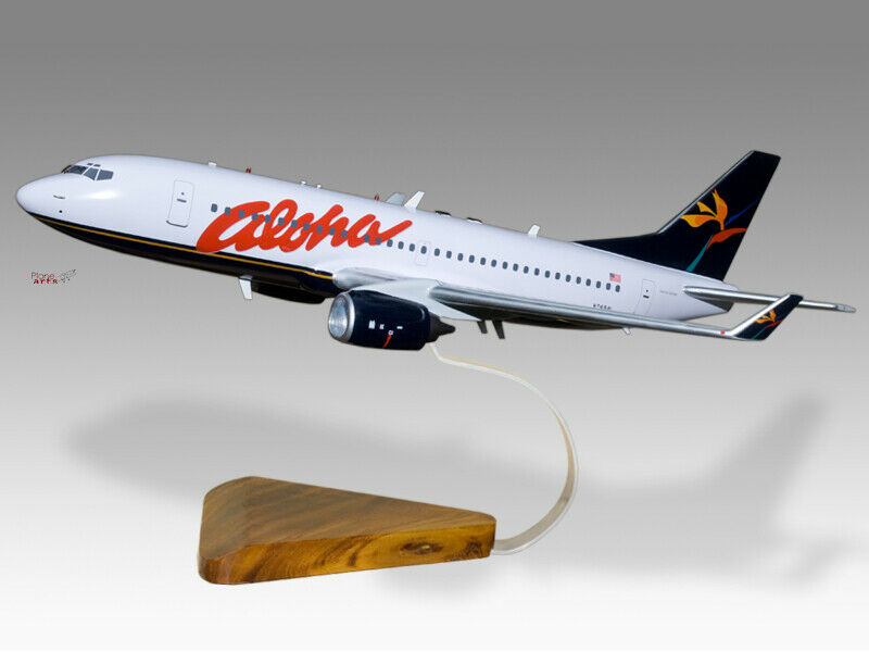 Boeing 737-800 Aloha Solid Kiln Dried Mahogany Wood Handcrafted Display Model