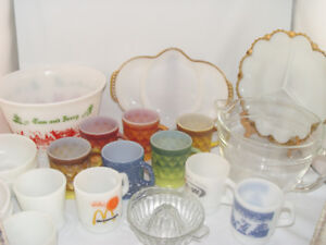 Vintage 21 Fire King Dishes Tom  Jerry Bowl Kimberley Mugs