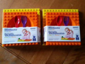 Kids dinner set mega blok and lego duplo compatible
