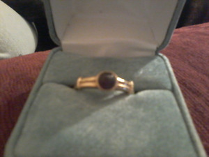 PURE POLISHED RUBY PEARL 10K GOLD RING