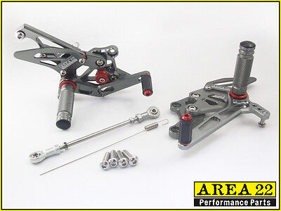 2015 <em>YAMAHA</em> YZF R3 AREA 22 CNC ADJUSTABLE REAR SETS GREY REARSET R3 30