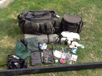 Carp fishing fox trakker bags and bait