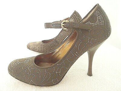 Isabella Fiore Dark Brown Satiny Fabric and Gold Embroidery Stiletto Shoes 5.5