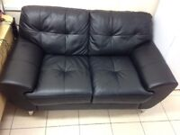 ***NEW EX DISPLAY 2 seater black leather sofa for SALE ***