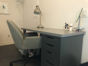 Grey Desk with Drawers and Chair