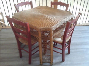 Vintage Wicker Table, 4 Ladderback Chairs PRICE REDUCED