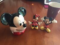 Mickey Mouse figurines and curling iron