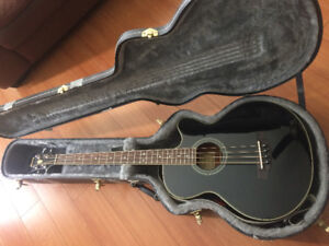 Ibanez Black Acoustic Bass (with hard case and strap)
