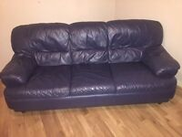 GREAT CONDITION BLUE LEATHER SOFA