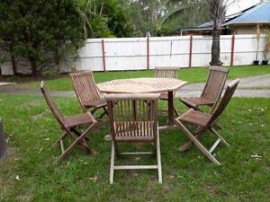 OUTDOOR TEAK HARDWOOD DINING SETTING-FREE DELIVERY WITHIN 10KM Fitzgibbon Brisbane North East Preview