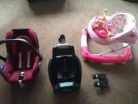 Infant maxi cosi cabrio seat isofix easy base and baby walker