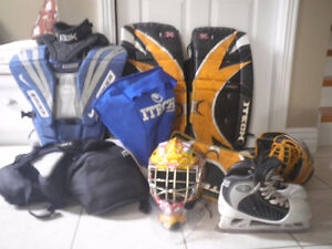 GOALIE EQUIPMENT AND SKATES