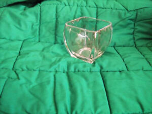 Vintage Clear Square VASE -thick Glass-4 1/2 x 4 1/2--$15.