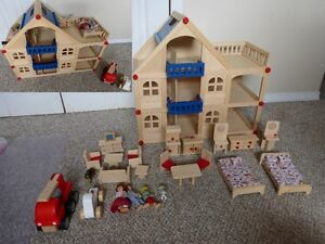 Wooden house, furniture, people, car, firetruck, pets