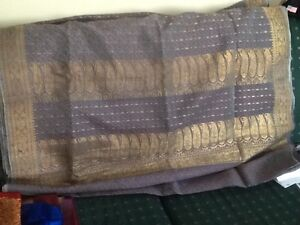 Vintage silver grey and gold silk sari