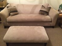 2 seater sofa, wing chair plus footstool