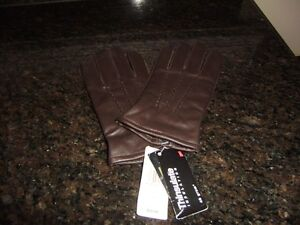 MENS SMALL BROWN LEATHER THINSULATE GLOVES