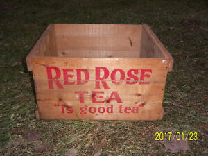 Red Rose Wooden Tea Box