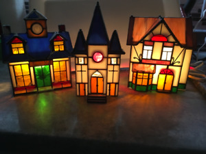 THREE STAIN GLASS LIGHTED HOUSES
