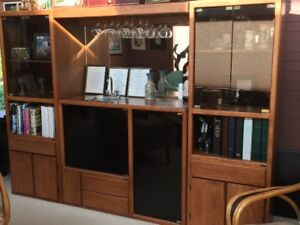 Solid Oak 5-piece customized wall unit with sink.