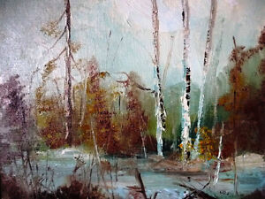"Original Oil Landscape by W P Gamon ""Early Spring"" Stratford Kitchener Area image 3"