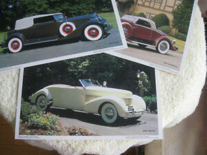"""THREE VINTAGE 7"""" x 9.5"""" ANTIQUE CAR POSTERS SUITABLE for FRAMING"""