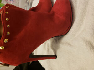 Red suede ankle boots.