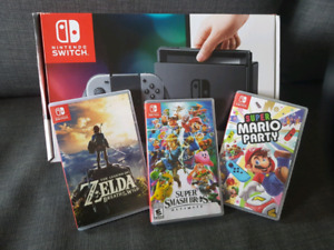 Nintendo Switch and 3 games