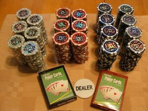 Poker chips $1,$5,$10,$100 and cards