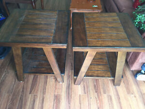 Two-tier hardwood coffee and end tables