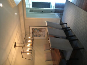 Trestle Dining Table and Eight Chaors