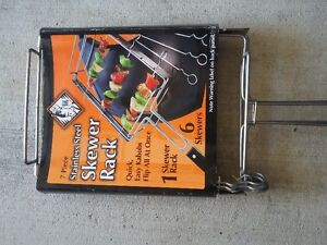 BRAND NEW 7 Pcs. STAINLESS STEEL SKEWER RACK WITH LONG HANDLE London Ontario image 3