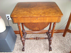1800's VICTORIAN BURLED WALNUT LADY'S SEWING CABINET