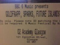 2 Radio 6 festival tickets Goldfrapp, Sparks, Future Islands