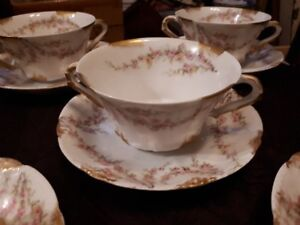 Vintage T. Haviland Limoges double handle soup bowls with plate