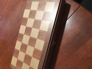 Chess Set -- Portable, magnetic pieces, folding wooden board.