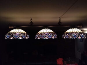 Update: Billiard table light fixture, three tiffany shades