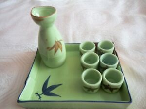Japanese Sake Set, 8 Pieces Ceramic Hand Painted Design