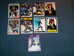 BRETT HULL-ST LOUIS BLUES-COLLECTION OF 9 HOCKEY CARDS-VINTAGE!