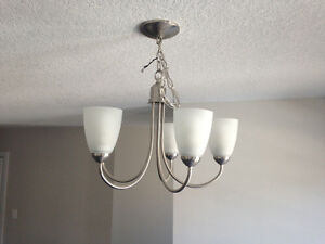 2 pendant lights and 1 chandelier