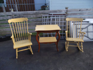 2 antique rocking chairs plus table