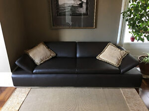 Chocolate Brown Contemporary Leather Couch and Love Seat