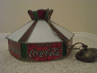 VINTAGE COCA-COLA STAINED GLASS CEILING LIGHT