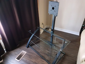 Glass shelf TV stand with TV mount