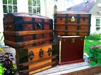 Four trunks malle coffre antique trunk 150.00 cedar lined 180.00